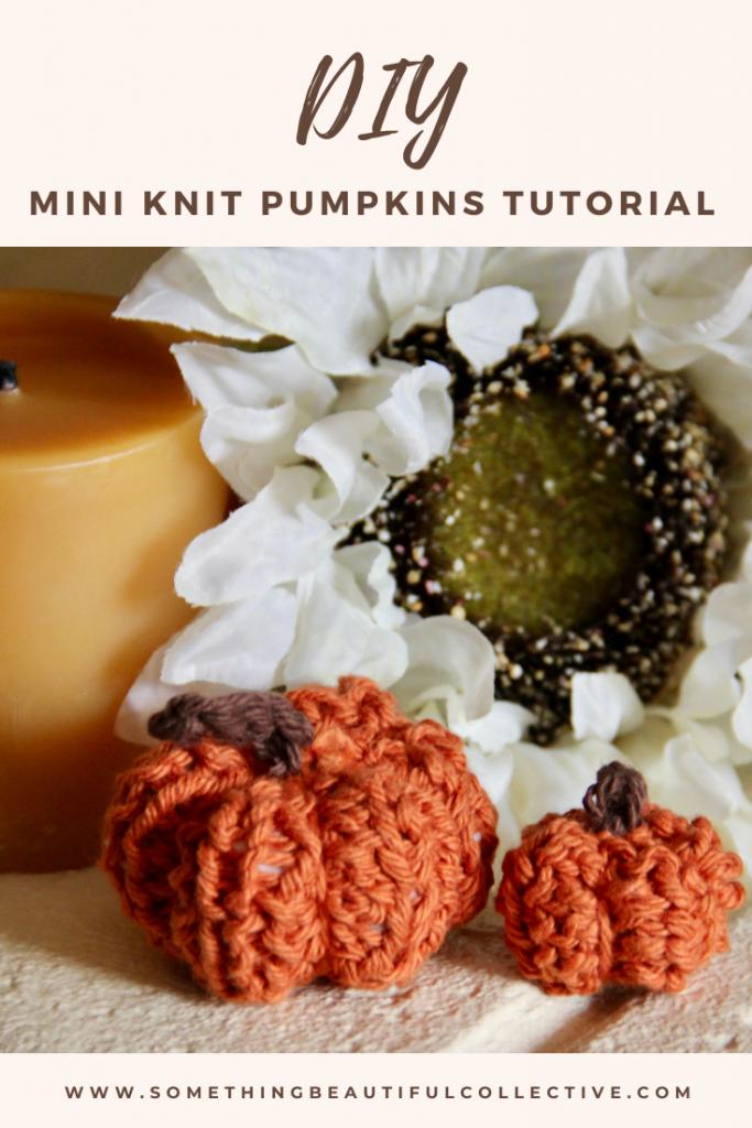Pinterest Image of Mini Knit Pumpkins